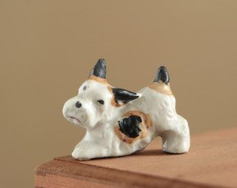 Vintage ceramic white scottie dog figurine / dog collectible ceramic puppie made in Japan