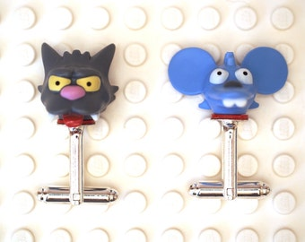 Cat and mouse severed Head Theme cufflinks. Cufflinks made with LEGO(R) bricks. Wedding gift