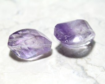 Genuine Natural Faceted Amethyst Large Nugget Stones 23mm 2pcs