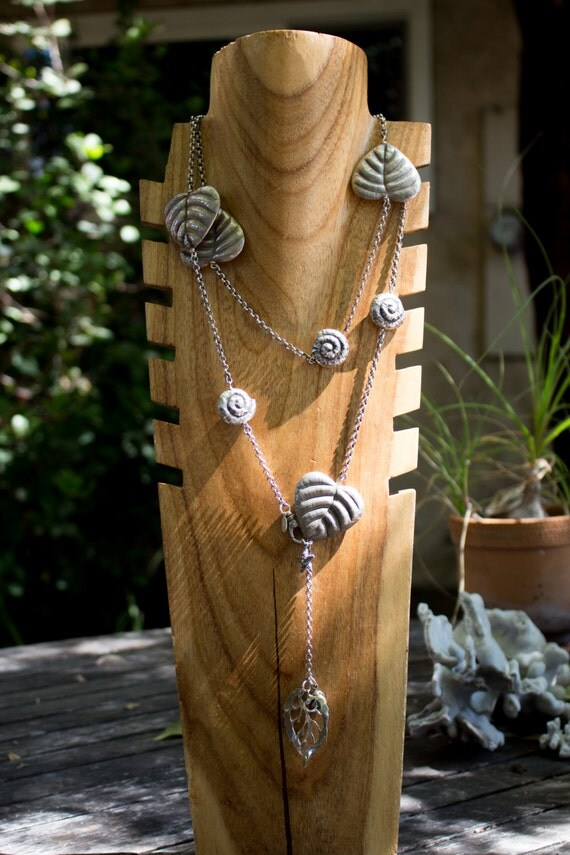 Silver Leaf and Snail Necklace