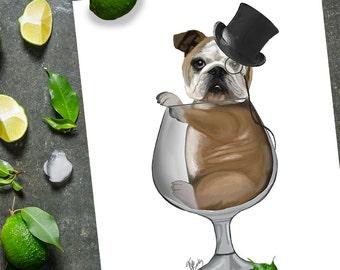 Gift for Dad - English Bulldog in Brandy Glass English Bulldog wall art Dog wall décor dog wall art English Bulldog print gift for dog lover