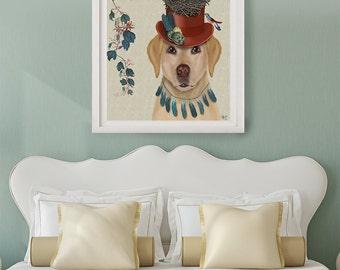 Labrador Art print - Milliners Dog Whimsical dog art birds nest Whimsical print wall decor yellow labrador print lover Wall decor home decor