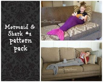 Shark 2 and Mermaid blanket pattern crochet tail