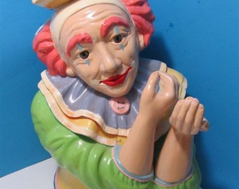 """Hand Painted Ceramic Large """"Clown"""" Figurine Collectible Collector Circus"""