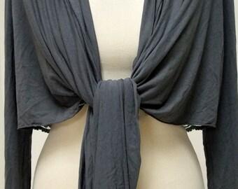 Gray Charcoal Tie Front Shrug, Long Sleeve Batwing Bolero, Lace Insert Cardigan Shawl Jacket - Size M