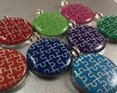 Round Autism Awareness Pendant, Autism Jewelry, Autism Awareness, Autism Mom, Puzzle Piece Jewelry, Autism Speaks, Puzzle Piece