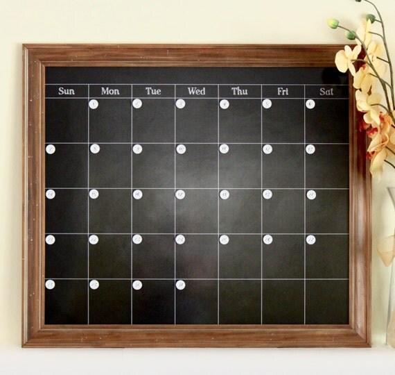 Chalkboard Calendar Framed : Large chalkboard calendar magnetic and custom framed