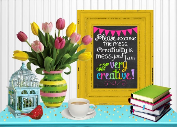 Wall Art For Craft Room : Creativity is messy chalkboard wall art craft room decor