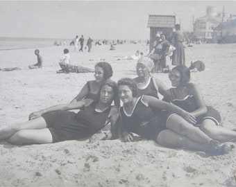 Sweet 1910's Bathing Beauties Pose On The Beach Real Photo Postcard - Free Shipping