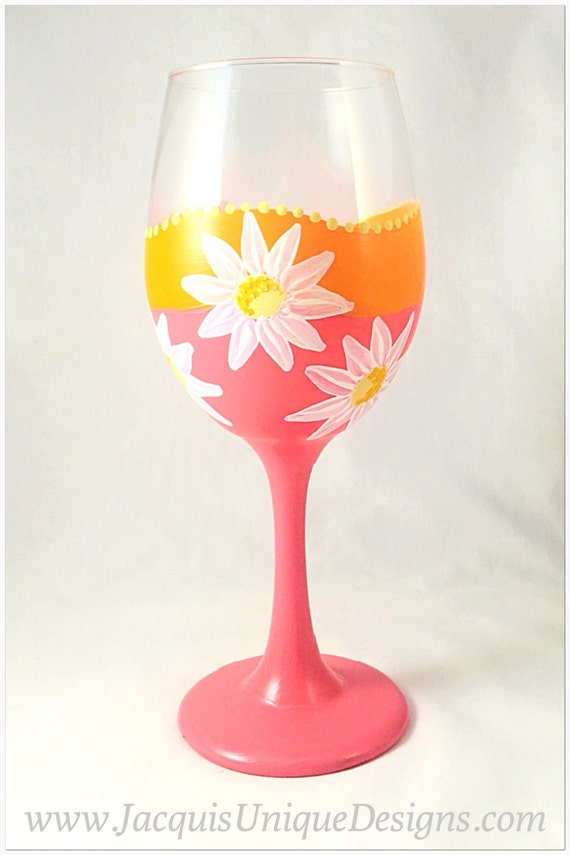 Funky Colorful Flowery Summer Wine Glass