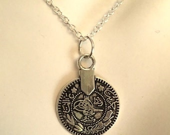 Double Sided Silver Coin Charm Necklace - Trendy Coin Charm Sterling Silver Chain Necklace