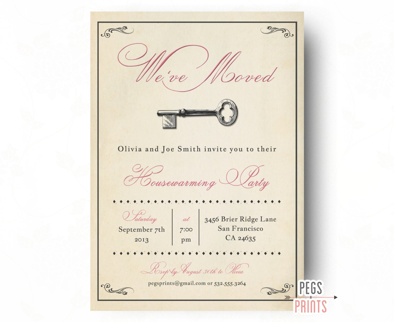 Vintage Housewarming Party Invitation Rustic House Warming