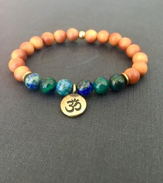 Wrist Mala Bead, Sandalwood, Azurite Chrysocolla Om Charm Bracelet  Hindu Buddhist Jewelry , Japa Mala, Prayer Beads, Yoga Jewelry