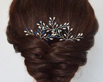 Blue Crystal Hair Accessories, Sapphire Hair Pins, Blue crystal Hair Pins, Formal Hair Pin, Bridal Hair Pins, Customised Hair Pins, Set of 3