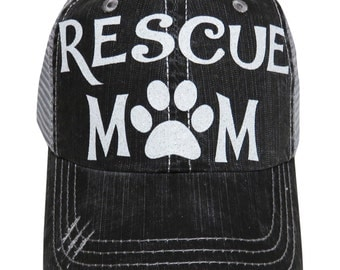 "NEW! White Glitter ""Rescue Mom"" Distressed Look Grey Trucker Cap Hat"