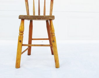 Awesome Oak Childu0027s Chair   Re Purposed From A High Chair   Wood, Long