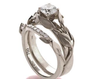 Leaves Engagement Set, Bridal Set, 18K White Gold and Diamond engagement ring, engagement ring, leaf ring, wedding set, engagement set