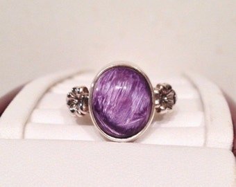 ON SALE - Charoite and Forget Me Not Flower Accent Ring - Silver Silver Size 6-1/2