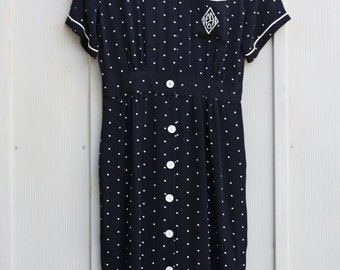 Mod Dress, Maxi Dress, Polka Dot Dress, Button Down Dress, Secretary Dress, 80s Dress, Pinup Dress, Rockabilly Dress, Hipster Dress, 1980s