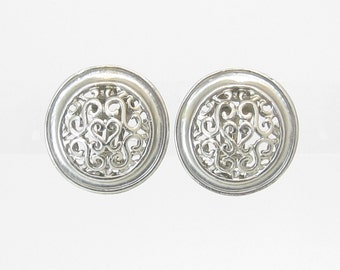 Vintage Silver Tone Earrings, Round, Clip Ons, Filigree