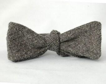 Men's Bow Tie – Grey Cotton Flannel Tweed - Bowtie