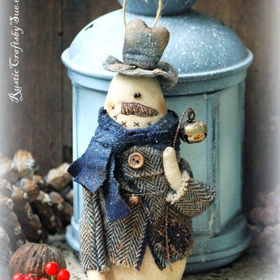 Primitive Snowman-Rustic Snowman-Christmas Decor Rustic-Snowman Christmas Ornament-Country Christmas Decorations