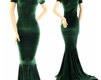 Forest Green Velvet Gown with Scoop Neckline, Tee Length Sleeves and Puddle Train  -153917