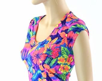 Neon UV Glow Tahitian Floral Print Scoop Neck Cap Sleeve Lycra Spandex Crop Top 151643