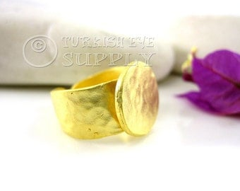 Adjustable Ring Base Blank, 22K Gold Plated Brass Ring with 15mm Ring Base Setting