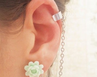 Mint sun flower ear cuff wrap