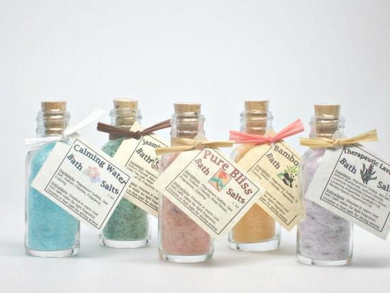 Scented Bath Salts, Sea Salt Soak, Sample Size, Party Favor, Bridesmaid Gifts- 1 oz bottles