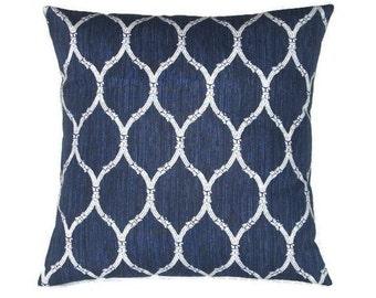 Indigo Blue and White Pillow Cover In A Lattice Design, 18 x 18 Inches