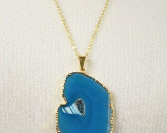 Long Blue Agate Slice Necklace // Long Necklace // Agate Necklace // Agate Slice Necklace // Layering Necklace  //  Stone Necklace