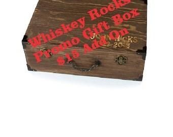 Cool Groomsmen Gift, Wooden Gift Box, Whiskey Rocks Promo, Rock Glasses, Whiskey Rocks Glass Gift Box, Gift for Him, Groomsmen Gift Idea
