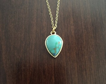 Turquoise Necklace, Turquoise Jewelry, Turquoise Pendant, Turquoise Stone, Turquoise Teardrop, Jewellery, Jewlery, Gold Necklace, Necklace