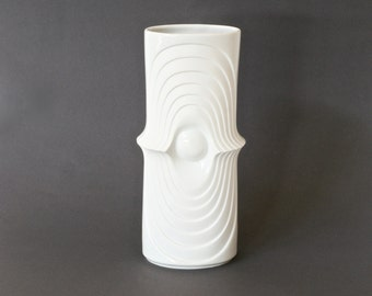 ROYAL KPM 'Swing' Vase, White Bisque Porcelain Vase, 'Swing' Series, German Op Art Vase, White Minimalist Vase, Hand Made in Germany, 755/24