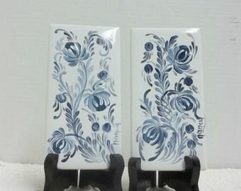 White, Ceramic Tile, Hand Painted, Blue, Scandinavian Design, Swedish,Norwegian, Rosemaling, Folk Art, Wall Decor,