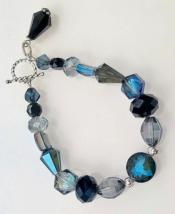 Blue and Black Chinese Crystal Bracelet