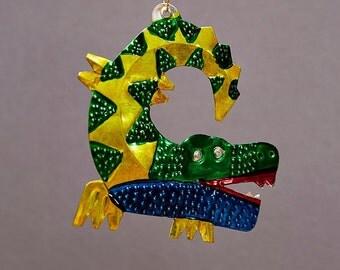 Mexican Tin Crocodile Decoration