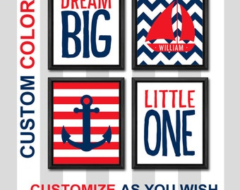 nautical nursery decor personalized, nautical theme nursery, sailboat nursery, anchor nursery, nautical baby nursery, dream big little one