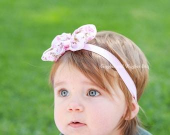 Baby headbands, baby girl headbands, newborn headbands, baby bow headbands, pink floral bow, pink headband, pink flower headband