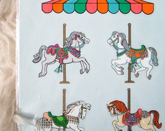 Vintage 1989 Handpainted Horse Carnival Carousel Decoral Water Transfer Decals