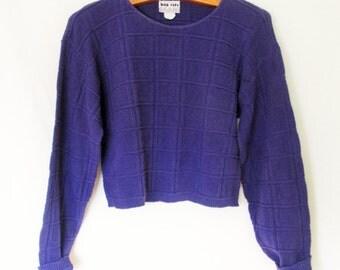 Vintage 1990s Cropped Purple Sweater