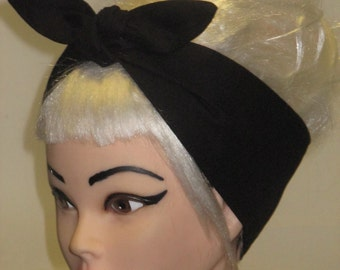 "4"" WIDE Headband Solid Black Rockabilly Pin-up Vintage Retro Style Head scarf Wrap Tie"