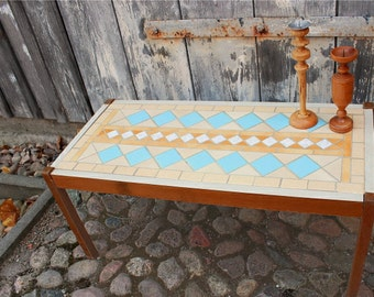 Vintage 50s plant stand, low table, tiles, mosaic, flower bench,  mid century furniture