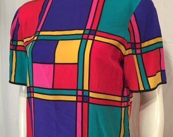 Vintage Medium M 10 Carlisle Colored Squares Red Blue Yellow Green Black Short Sleeve Blouse Modrian 90s Nineties