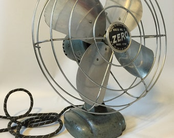 Antique Desk Fan, Zero Fan, Industrial Desk Fan, Vintage Zero 1275R Desk Fan, Retro Desk Fan, Adjustable Fan, Mad Men Style Office Decor