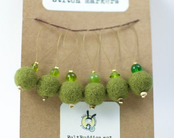 Stitch Markers - Set of 6 - Snag Free Knitting Notions in Green
