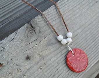 Red Flower Chord Necklace- 22 inches