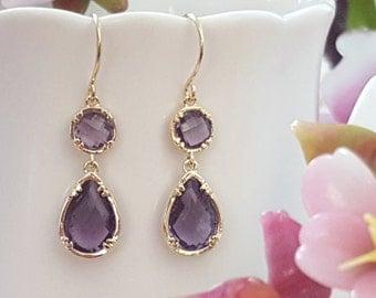 Purple Crystal Earrings, Amethyst Earring, Dark Purple Dangle Earrings, Violet Bridesmaid, Royal Purple Maid of Honor, Feb Birthstone, E2514